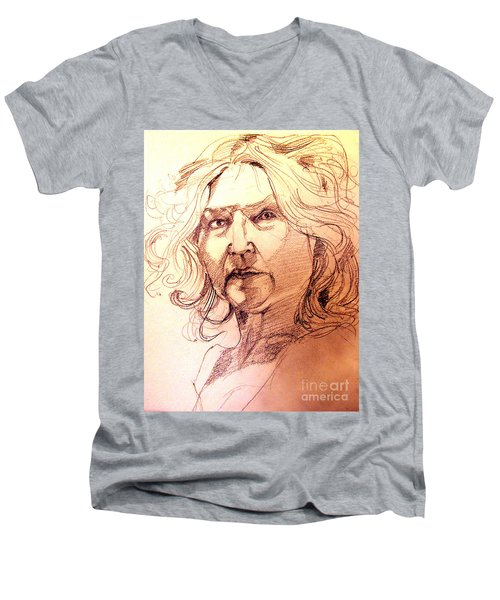 Life Drawing Sepia Portrait Sketch Medusa Men's V-Neck T-Shirt
