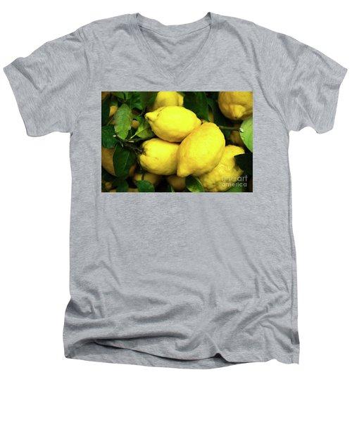 Life Gives You Lemons Men's V-Neck T-Shirt by Sandy Molinaro