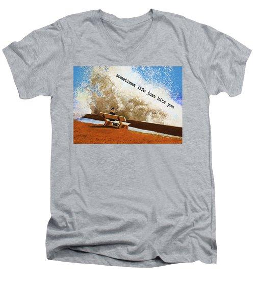 Life Hits You Greeting Card Men's V-Neck T-Shirt by Thomas Blood