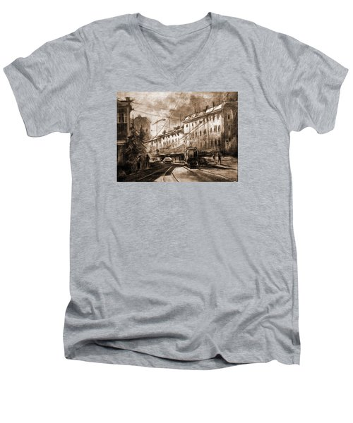 Men's V-Neck T-Shirt featuring the drawing Life In The City by Mikhail Savchenko