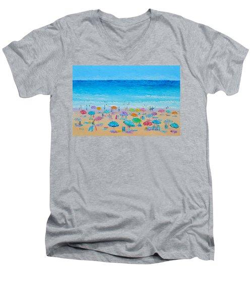 Life On The Beach Men's V-Neck T-Shirt by Jan Matson