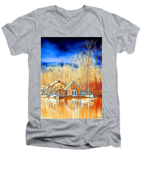 Life On The River Men's V-Neck T-Shirt by Steve Warnstaff