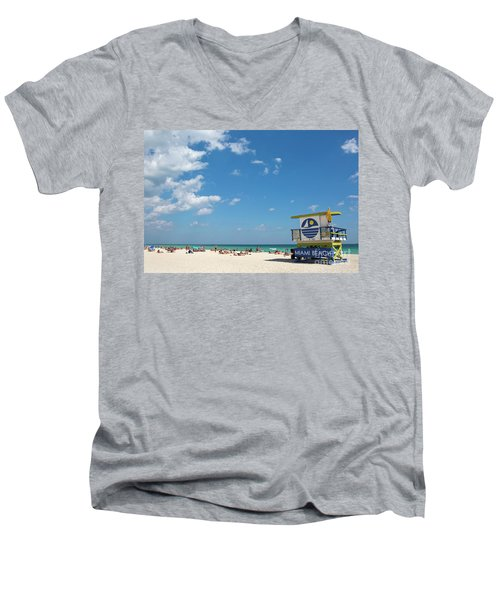 Lifeguard Station Miami Beach Florida Men's V-Neck T-Shirt