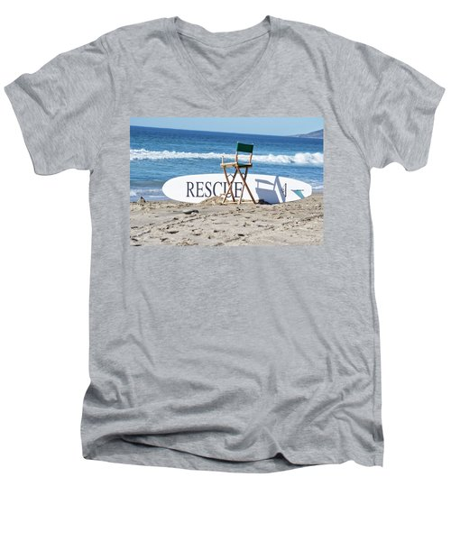 Lifeguard Surfboard Rescue Station  Men's V-Neck T-Shirt