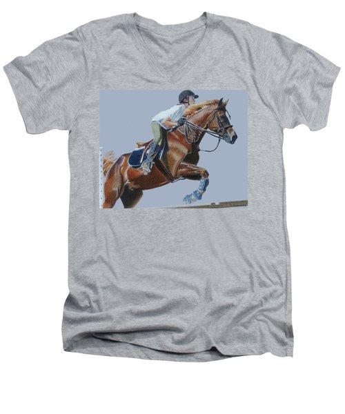 Horse Jumper Men's V-Neck T-Shirt by Patricia Barmatz