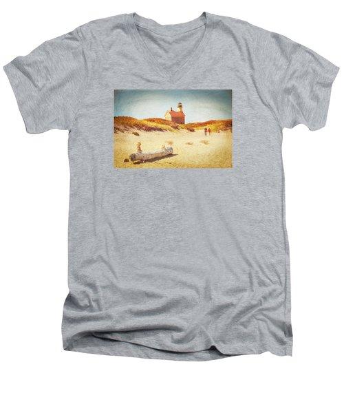 Lifes Journey Men's V-Neck T-Shirt by Karol Livote