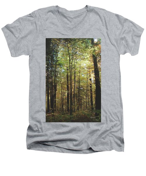 Men's V-Neck T-Shirt featuring the photograph Light Among The Trees Vertical by Felipe Adan Lerma