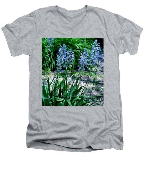 Light Blue Lace Men's V-Neck T-Shirt by Marsha Heiken