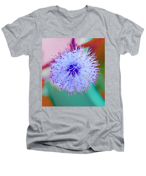 Light Blue Puff Explosion Men's V-Neck T-Shirt