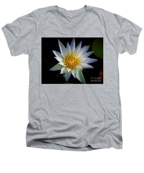 Light Blue Water Lily Men's V-Neck T-Shirt