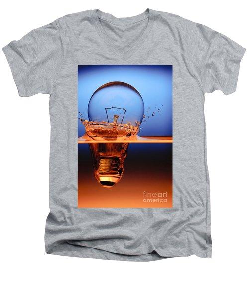 Men's V-Neck T-Shirt featuring the photograph Light Bulb And Splash Water by Setsiri Silapasuwanchai