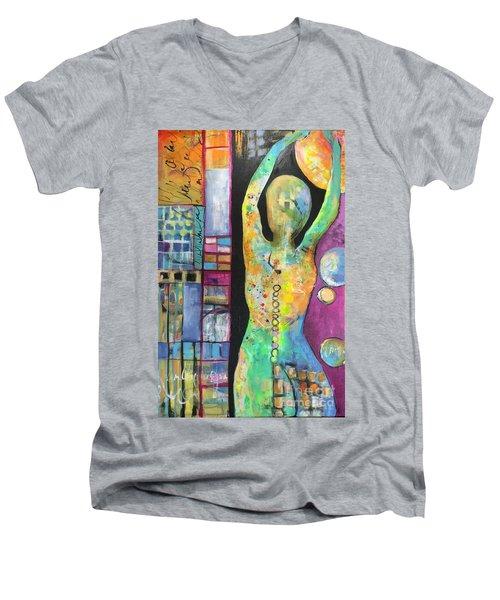 Light Energy Men's V-Neck T-Shirt by Karin Husty