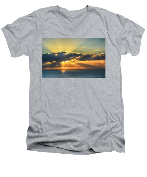 Men's V-Neck T-Shirt featuring the photograph Light Explosion by AJ Schibig