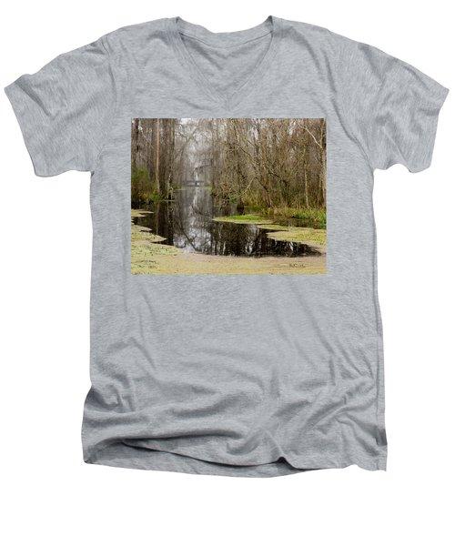 Light Fog On The Swamp Men's V-Neck T-Shirt