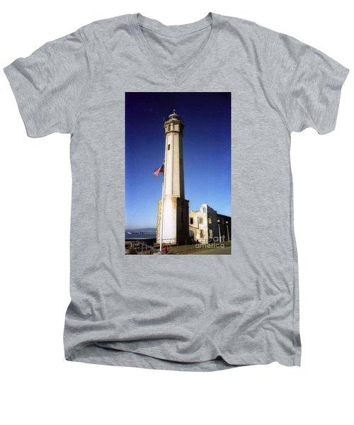 light house Alcatraz SF bay area Men's V-Neck T-Shirt by Ted Pollard