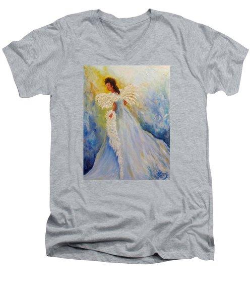 Light Of Grace,angel Men's V-Neck T-Shirt