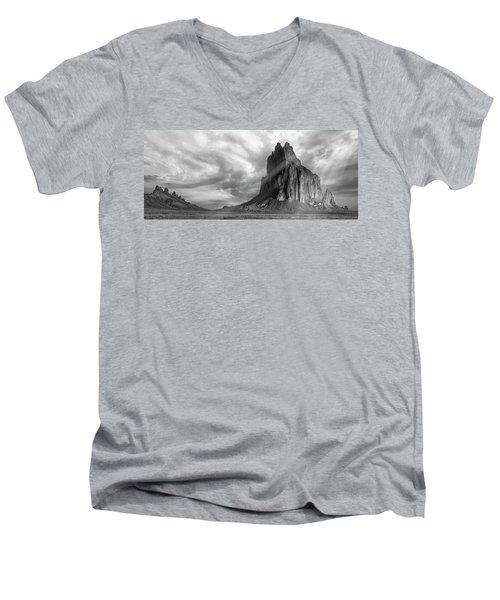 Light On Shiprock Men's V-Neck T-Shirt by Jon Glaser