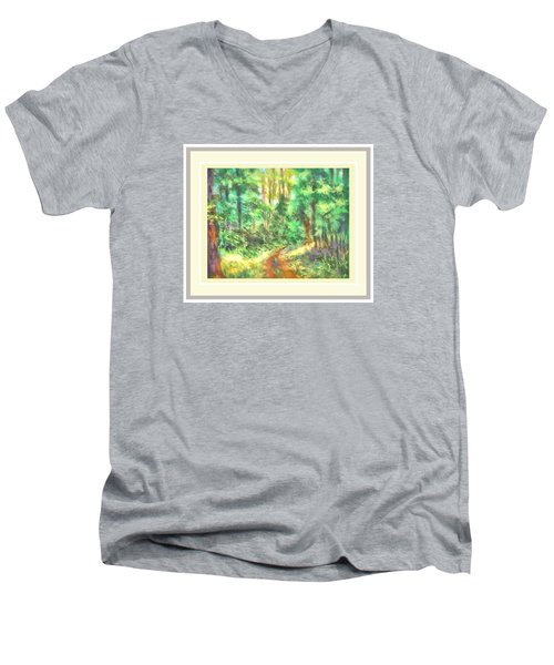 Men's V-Neck T-Shirt featuring the photograph Light On The Path by Shirley Moravec