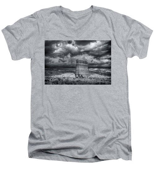 Men's V-Neck T-Shirt featuring the photograph Light On The Rock by John A Rodriguez