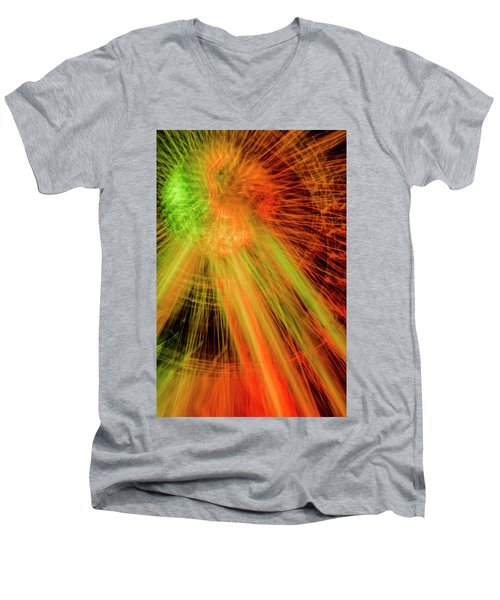 Light Painting At Night Men's V-Neck T-Shirt
