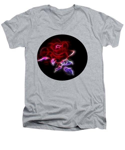 Light Play Rose Men's V-Neck T-Shirt by Linda Phelps