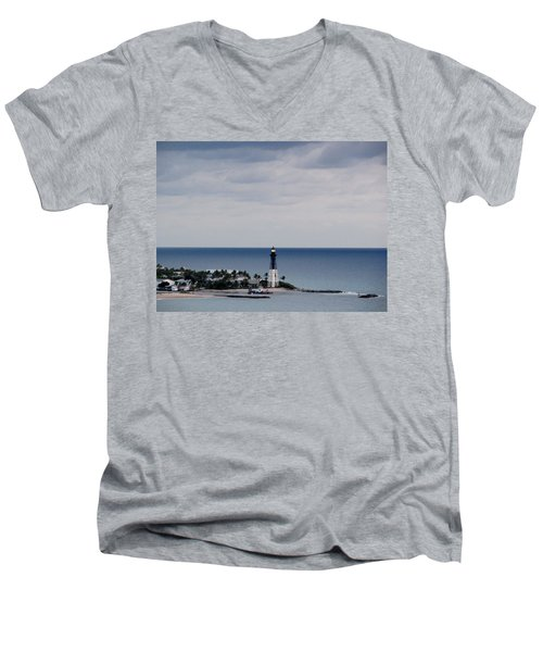 Lighthouse And Rain Clouds Men's V-Neck T-Shirt
