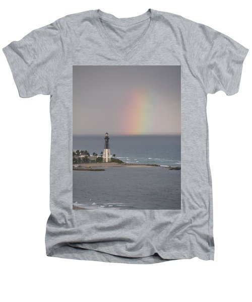 Lighthouse And Rainbow Men's V-Neck T-Shirt