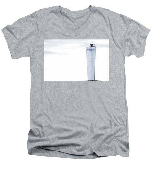 Men's V-Neck T-Shirt featuring the photograph Lighthouse At Cape Jervis by Stephen Mitchell