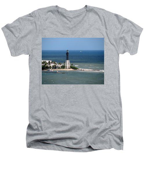 Lighthouse At Hillsboro Beach, Florida Men's V-Neck T-Shirt