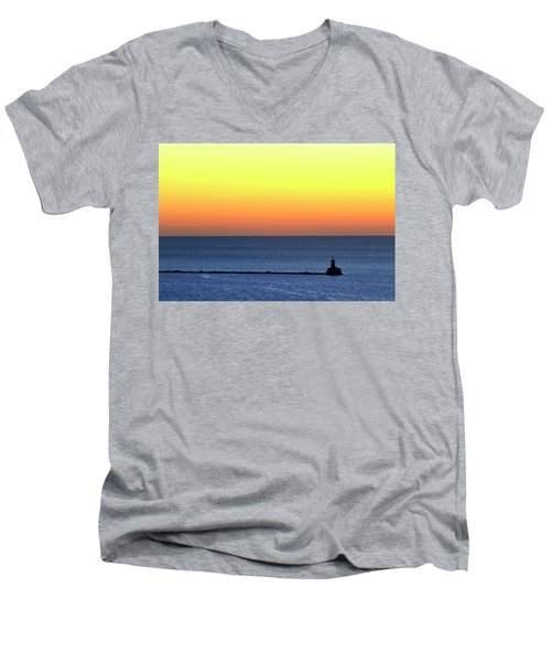 Men's V-Neck T-Shirt featuring the photograph Lighthouse At Sunrise On Lake Michigan by Zawhaus Photography