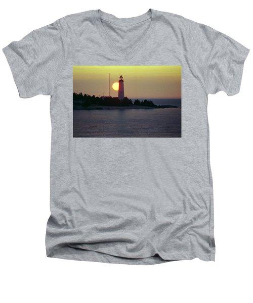 Lighthouse At Sunset Men's V-Neck T-Shirt