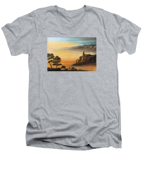 Lighthouse At Sunset Men's V-Neck T-Shirt by Remegio Onia