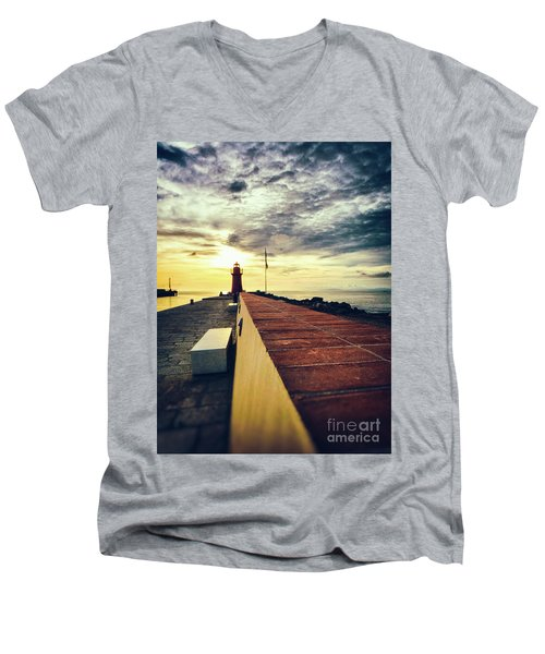Men's V-Neck T-Shirt featuring the photograph Lighthouse At Sunset by Silvia Ganora