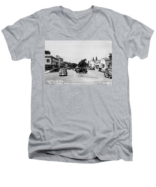 Lighthouse Avenue Downtown Pacific Grove, Calif. 1935  Men's V-Neck T-Shirt