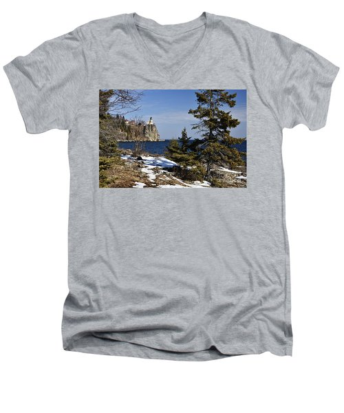 Men's V-Neck T-Shirt featuring the photograph Lighthouse Framed by Larry Ricker