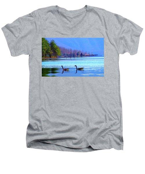 Lighthouse Geese, Smith Mountain Lake Men's V-Neck T-Shirt