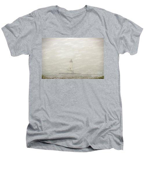 Lighthouse In Snowstorm Men's V-Neck T-Shirt