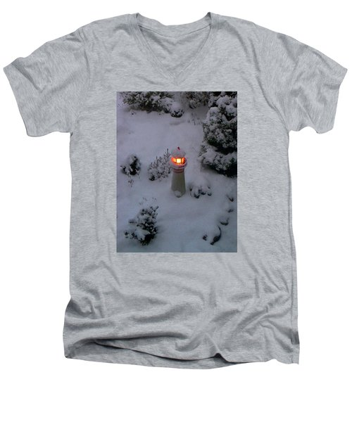 Men's V-Neck T-Shirt featuring the photograph Lighthouse In The Snow by Kathryn Meyer