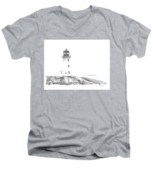 Lighthouse Of Peggy's Cove Men's V-Neck T-Shirt by Patricia Hiltz