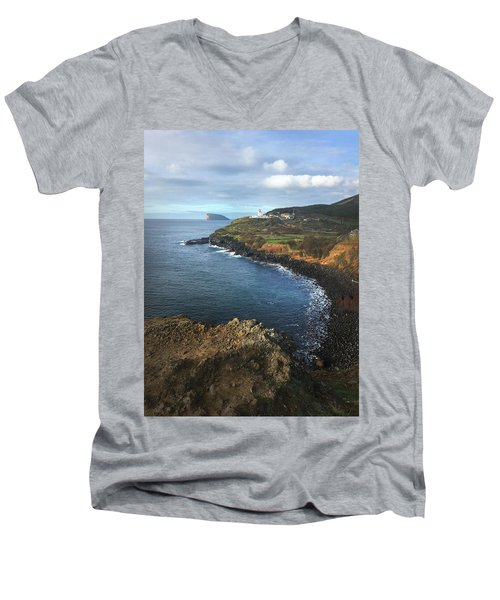 Lighthouse On Terceira Men's V-Neck T-Shirt by Kelly Hazel