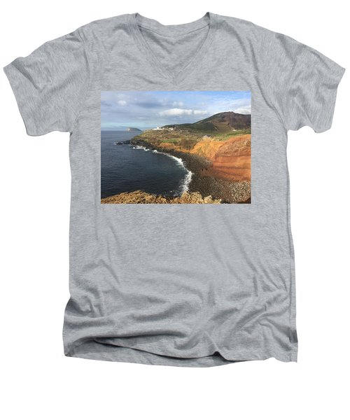 Lighthouse On The Coast Of Terceira Men's V-Neck T-Shirt by Kelly Hazel