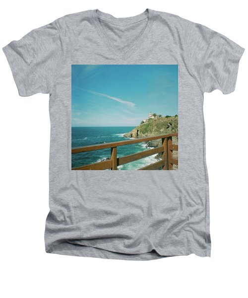 Lighthouse Over The Ocean Men's V-Neck T-Shirt