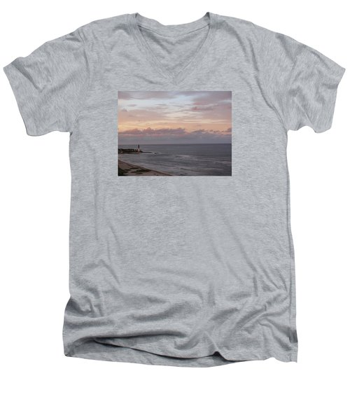 Lighthouse Peach Sunset Men's V-Neck T-Shirt
