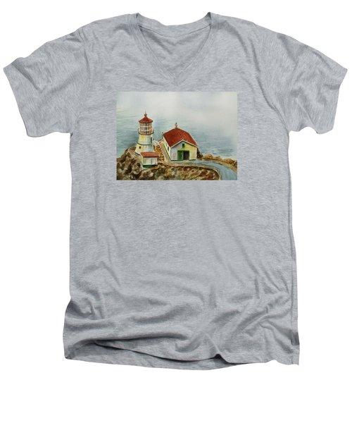 Lighthouse Point Reyes California Men's V-Neck T-Shirt
