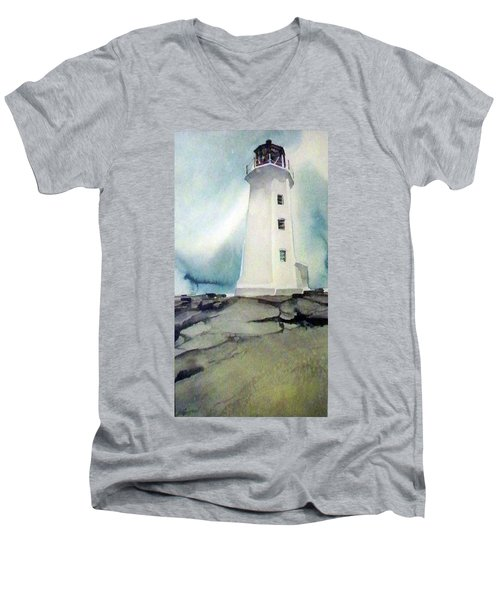 Men's V-Neck T-Shirt featuring the painting Lighthouse Rock by Ed Heaton
