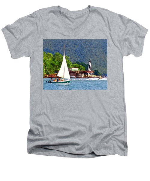 Lighthouse Sailors Smith Mountain Lake Men's V-Neck T-Shirt