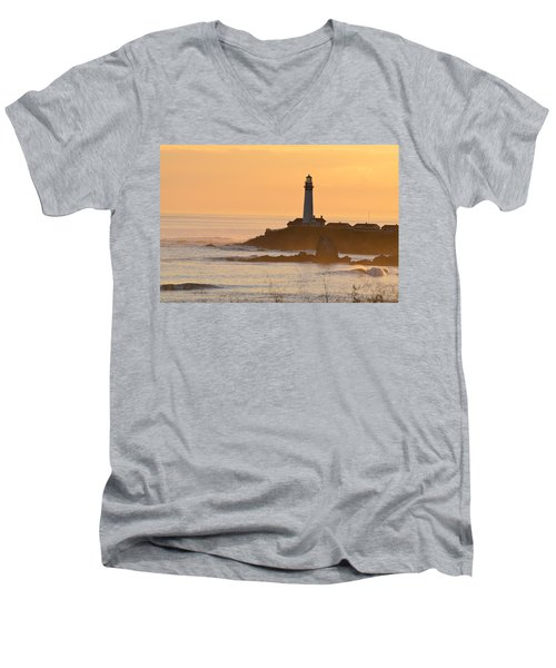 Men's V-Neck T-Shirt featuring the photograph Lighthouse Sunset by Alex King