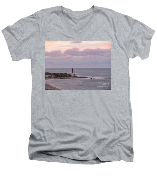 Lighthouse Sunset Peach And Lavender Men's V-Neck T-Shirt