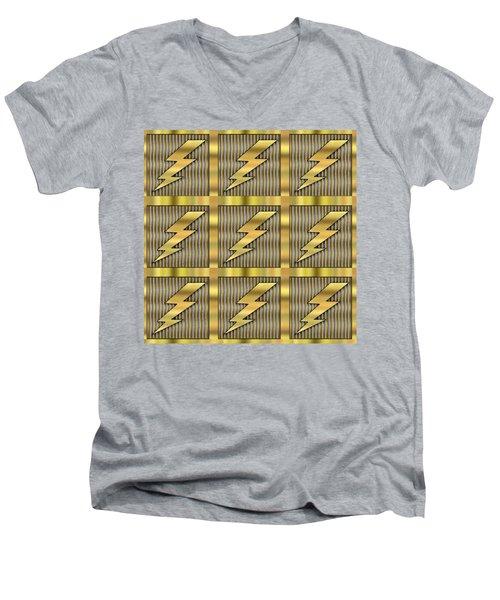 Men's V-Neck T-Shirt featuring the digital art Lightning Bolt Group - Transparent by Chuck Staley