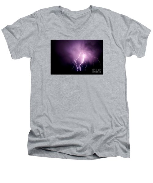 Lightning In The Desert Men's V-Neck T-Shirt